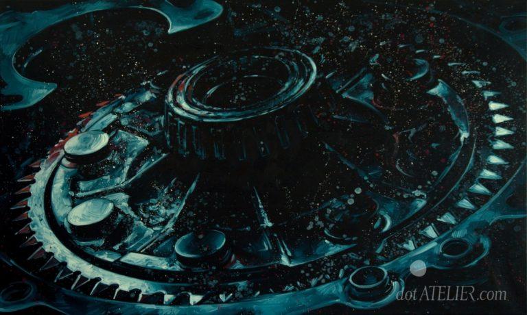 """Obraz na prodej GALILEO PŘEVODOVKA """"A přece se točí!"""" olejomalba na plátně"""