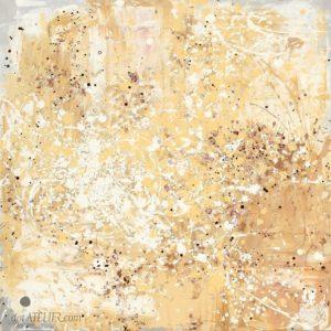 Abstraktní dripping na plátně v karamelové barvě