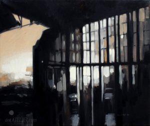 Abstraktní malba – obraz industriální továrny