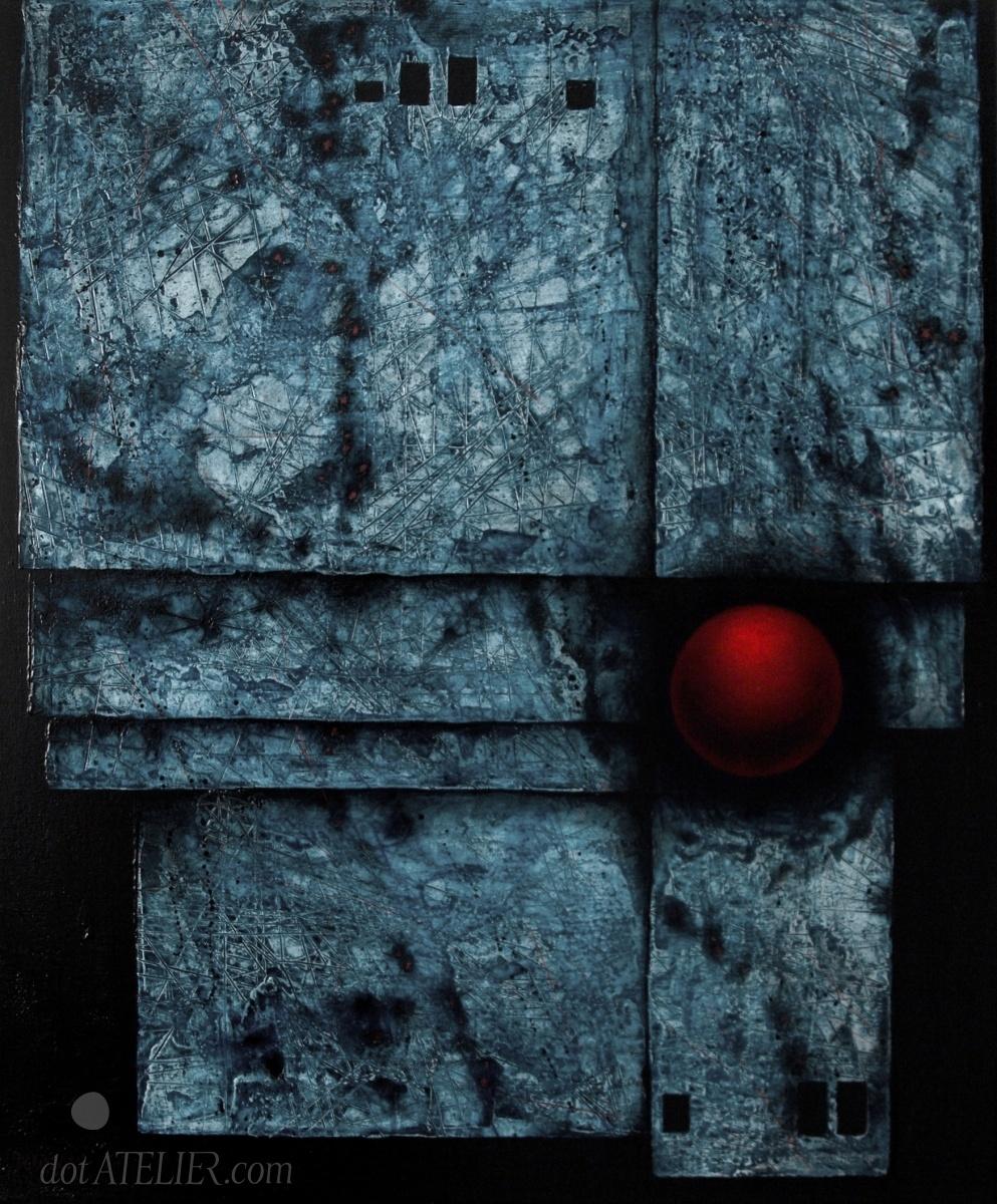 Abstraktní tmavě modrý obraz s červeným akcentem inspirovaný Mulášem Medkem