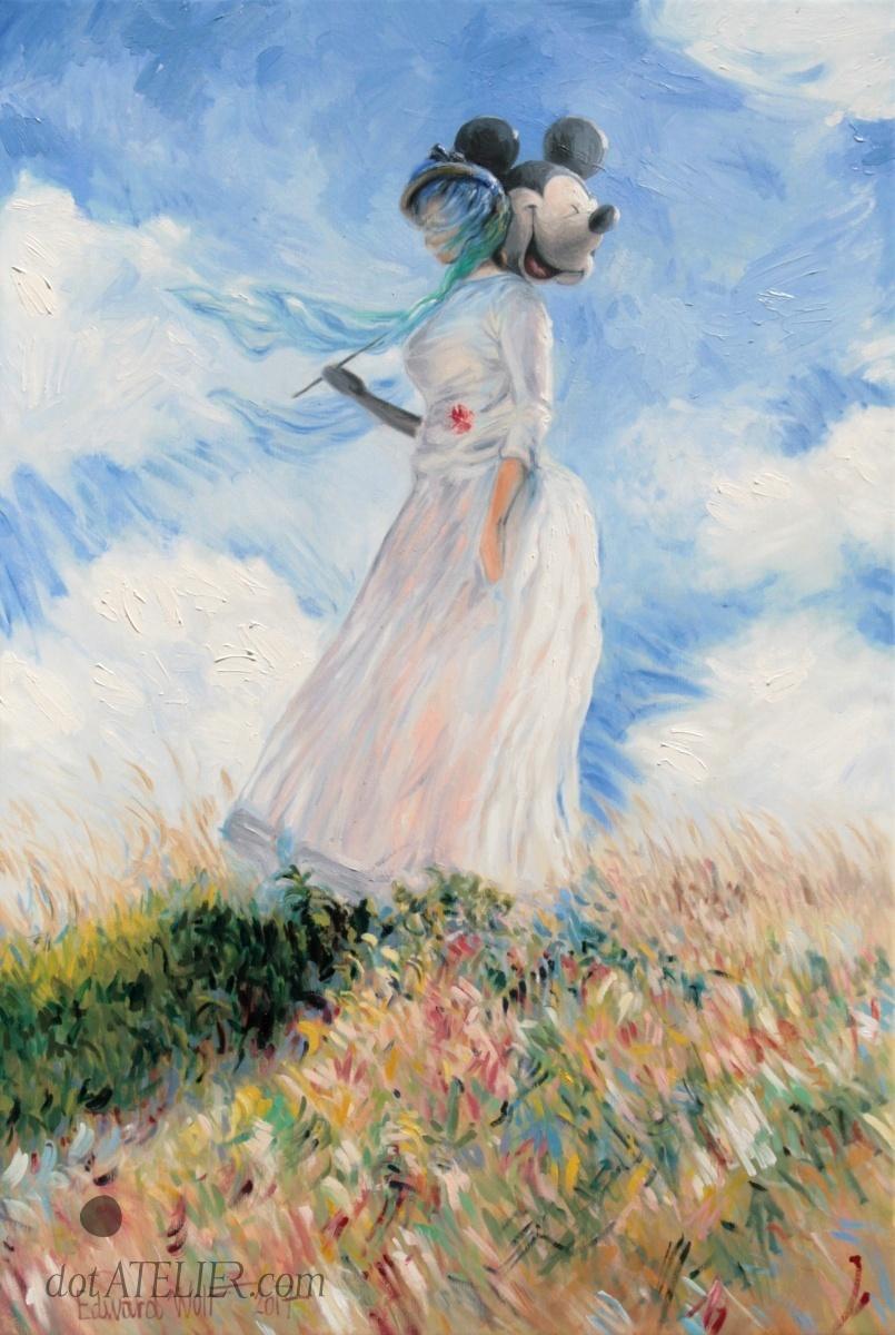 Parodie obrazu Žena se slunečníkem od Moneta