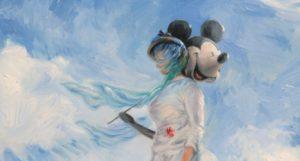 """detail parodie na Monetův slavný obraz """"Dáma se slunečníkem"""""""