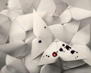 Černobílý obraz s červeným akcentem Papířáčci (origami motýlci)