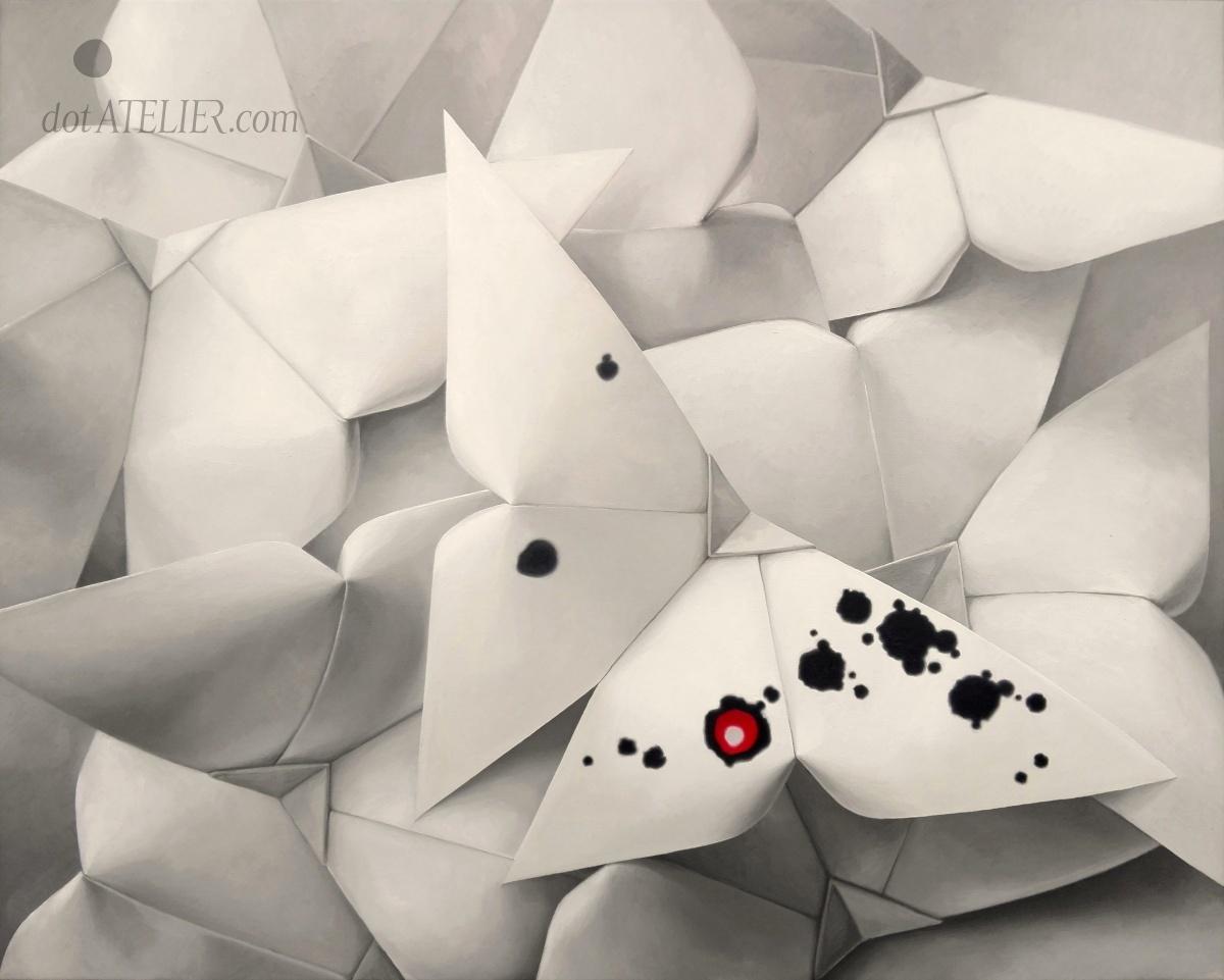 """Papíráčci"" olejomalba, 2013, 85 × 100 cm, (prodáno)"