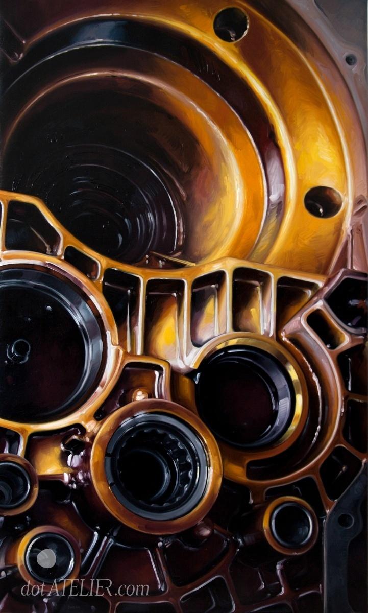 Obraz na prodej PO VLASTNÍ OSE – ORANŽOVÁ PŘEVODOVKA olejomalba na plátně