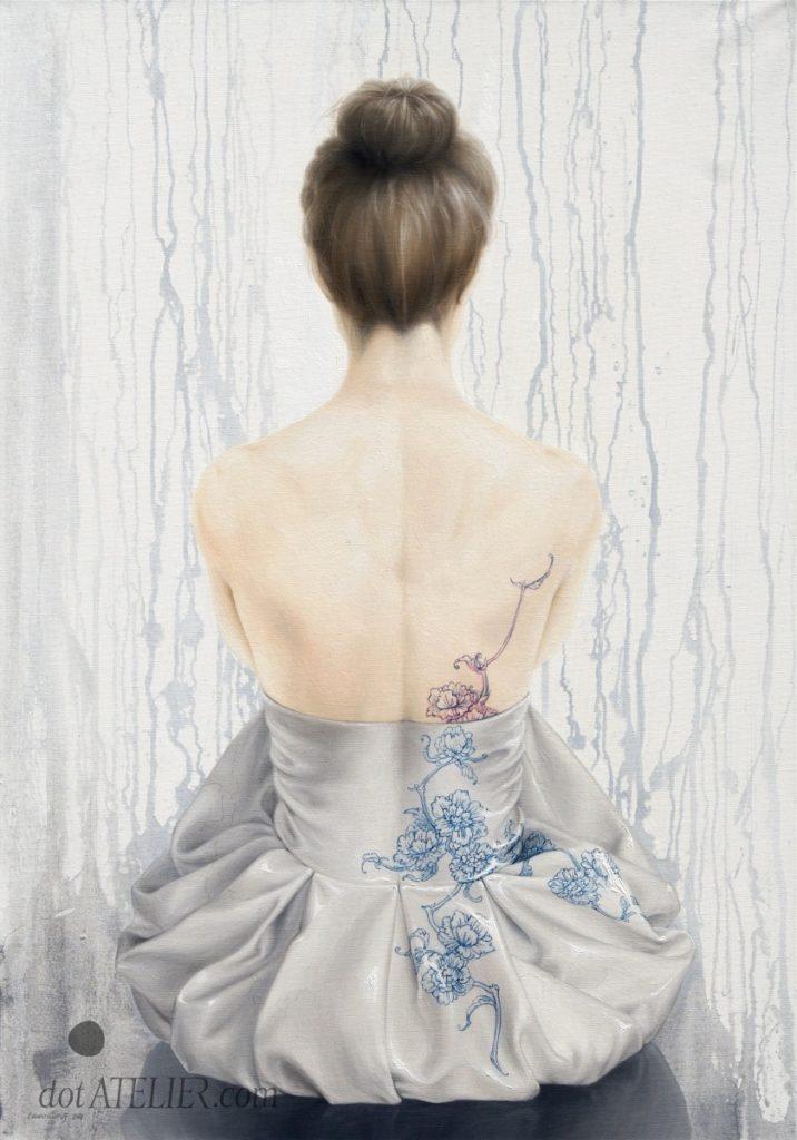 Malovaná záda ženy – obraz na plátně