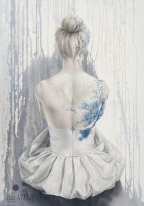Malovaná ženská záda – olejomalba na plátně