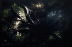 Malovaný tmavý obraz pohled na kořeny
