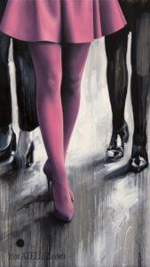 Malované růžové ženské nohy