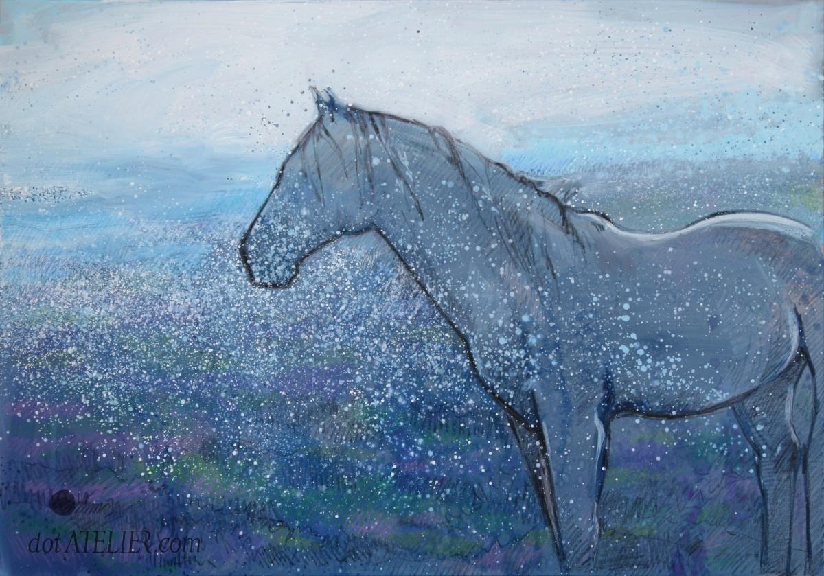 Obraz koně při setmění