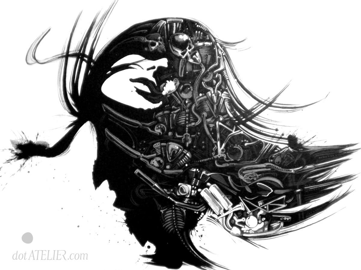Černobílý obraz ženské hlavy a aoutosoučástek