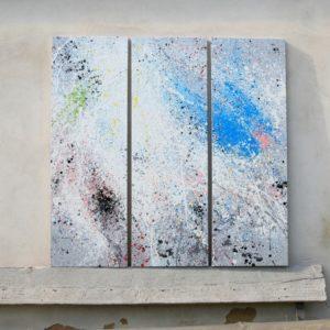 Třídílný abstraktní obraz – dripping