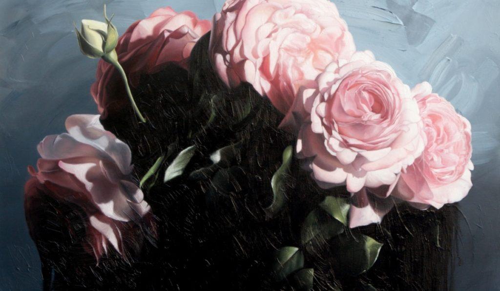 Květy řůžových růží – malovaný obraz
