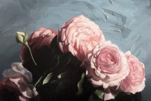 Detail olejomalby s čajovými růžemi