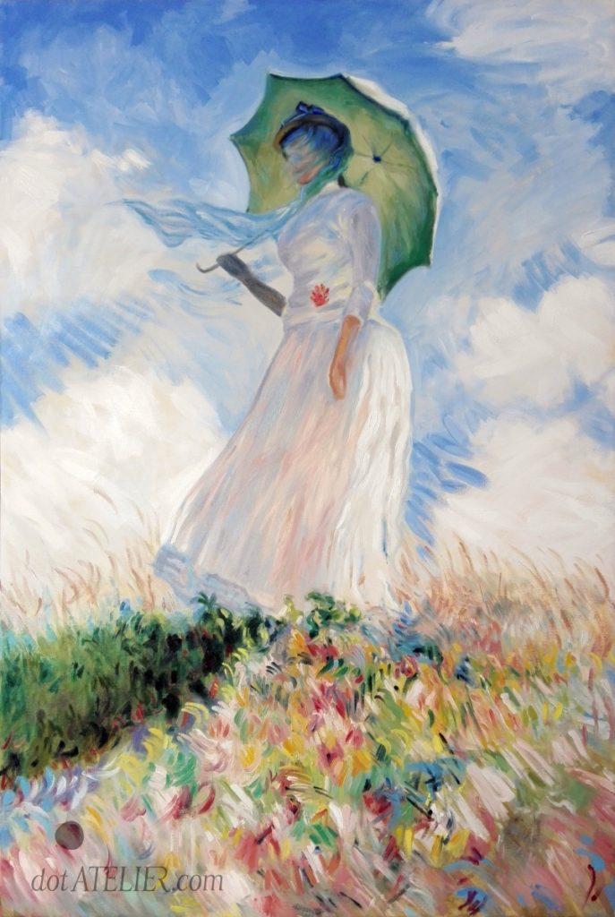 Claude Monet obraz Dáma se slunečníkem